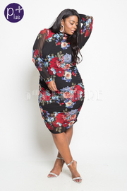 Plus Size Pretty In Floral Ruched Mesh Bodycon Dress