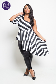 Plus Size Asymmetrical Striped One Sleeved Sleek Top