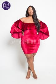Plus Size Sexy In Velvet Flounced Sleeved Dress