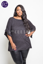 Plus Size Casual Suede Short Sleeved Top