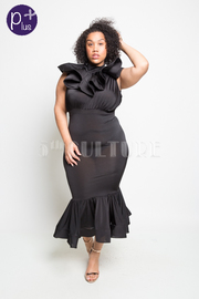 Plus Size Cascade Neck Mermaid Classy Maxi Dress
