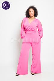 Plus Size Slit Sleeved Surplice Casual Jumpsuit