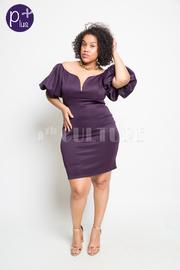 Plus Size Sweetheart Bubble Sleeved Mini Tube Dress