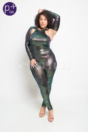 Plus Size Glittery Cutout Sexy Jumpsuit