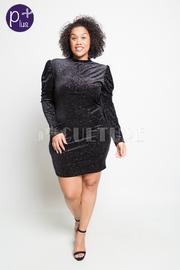 Plus Size Shimmer In Long Sleeved Velvet Dress