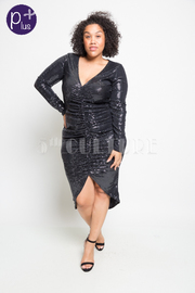Plus Size Shimmer In Ruched Midi Dress