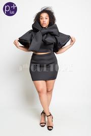 Plus Size Bow Tie Cape Cropped Skirt Scuba Set