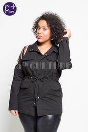 Plus Size Fringed Chain Pocket Denim Jacket