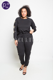 Plus Size Star Printed Side Sweater Pants Set