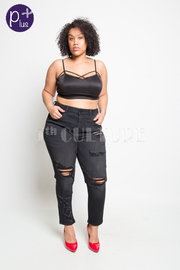 Plus Size Ripped Off Skinny Jeans