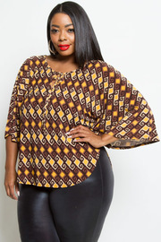 Plus Size Pattern 3/4 Sleeved Top