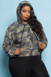 Plus Size Pretty Squad Camo Terry Hooded Sweater