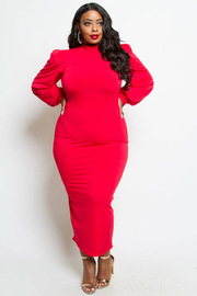PLUS SIZE LONG SLEEVE BODYCON WITH POINT GOLD BUTTONS ON SHOULDER