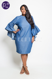 PLUS SIZE DENIM MIDI LENGTH DRESS WITH BELL SLEEVE