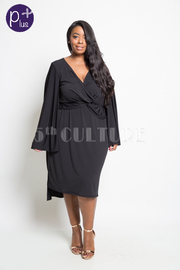 PLUS SIZE SEXY V NECK BELL SLEEVES DRESS