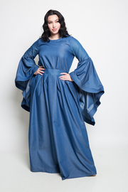 PLUS SIZE BELL SLEEVE DENIM LONG DRESS