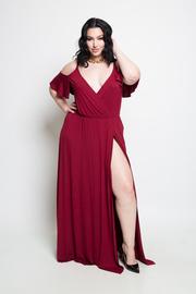 PLUS SIZE SEXY COLD SHOULDER SLIT DRESS