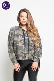 PLUE SIZE CAMO STYLISH COMFY TOP