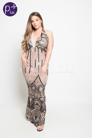 PLUS SIZE SEXY BACK MAXI DRESS