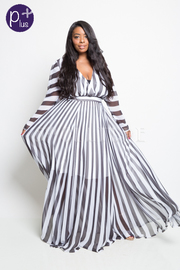 PLUS SIZE DEEP V NECK STRIPED MAXI DRESS