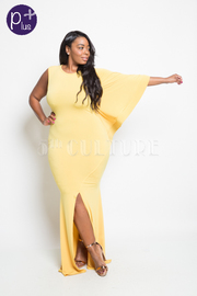 Plus Size Bell One Sleeve Slit Front Maxi Dress