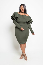Plus Size Exaggerated Flounced Off Shiulder Ponti Bodycon Tube Dress