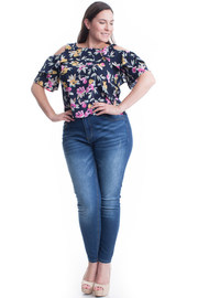 PLUS SIZE ROUND NECK FLORAL PATTERN TOP