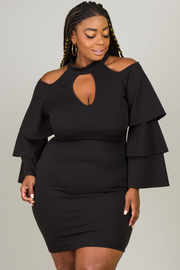 PLUS SIZE BELL SLEEVE SEXY DRESS