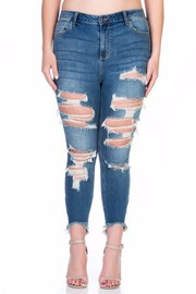 PLUS SIZE Mid-Rise Uneven Hem Cropped Skinny