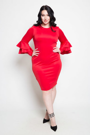 PLUS SIZE ROUND NECK LONG SLEEVES MIDI DRESS