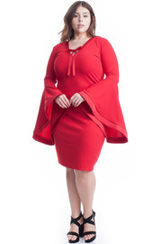 PLUS SIZE LONG BELL SLEEVES DRESS