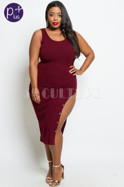 PLUS SIZE SPLIT SEXY DRESS