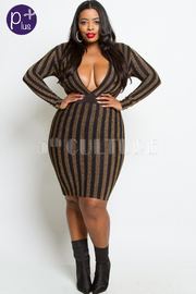 PLUS SIZE GORGEOUS STRIPE PATTERN DRESS