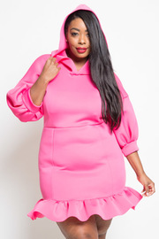PLUS SIZE CUTE HOODY DRESS