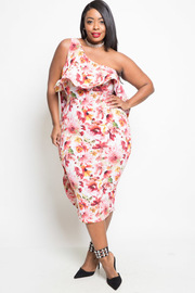 PLUS SIZE OFF SHULDER FLORAL DRESS