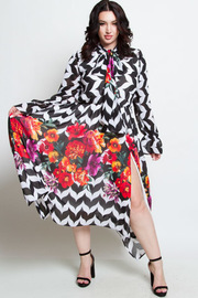 PLUS SIZE MAXI PRINTED CHIFFON DRESS WITH SLIT