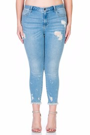 PLUS SIZE Ankle Splatter Cropped Skinny