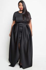PLUS SIZE SHORT SLEEVE A-LINE DRESS