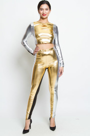 STYLISH SHINY TOP AND PANTS SET