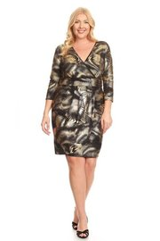 PLUS SIZE STYLISH METALIC MIDI DRESS
