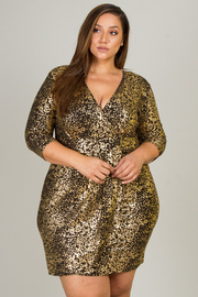 PLUS SIZE SEXY V NECK MIDI DRESS
