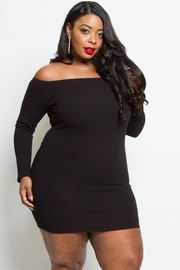 PLUS SIZE COLD SHOULDER FITTED DRESS