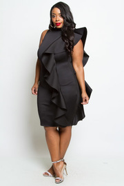 PLUS SIZE RUFFLE SHOUDLER DRESS