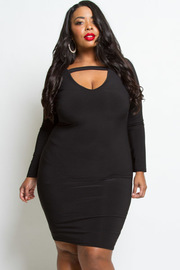 PLUS SIZE VNECK SIMPLE DRESS