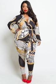 PLUS SIZE PATTERN TOP AND PANTS
