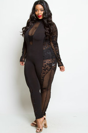 PLUS SIZE MESH STYLISH JUMPSUIT