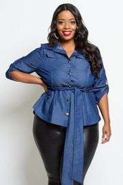 PLUS SIZE DENIM SHIRTS TOP