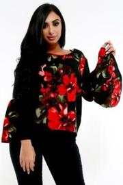 PLUS SIZE BELL SLEEVE FLORAL TOP