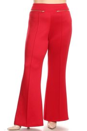 PLUS SIZE FRONT ZIPPERED TRIMS PANTS