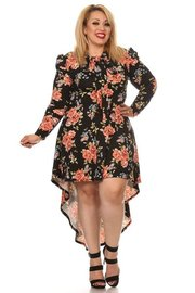 PLUS SIZE UNBALANCED FLORAL DRESS